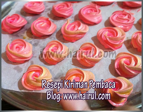 Resepi Rose Meringue Cookies
